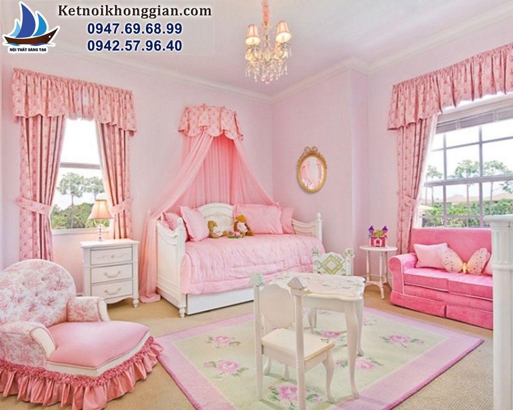 thiết kế phòng bé gái phong cách nữ tính