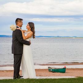 Beach Wedding by Matthew Chambers - Wedding Bride & Groom ( bride, love, sand, coast, groom, coastline, canoe, beach, waterfront, river, water, lake )