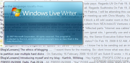 Windows Live Writer Splash screen