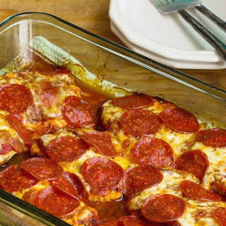 Low-Carb Pepperoni Pizza Chicken Bake.