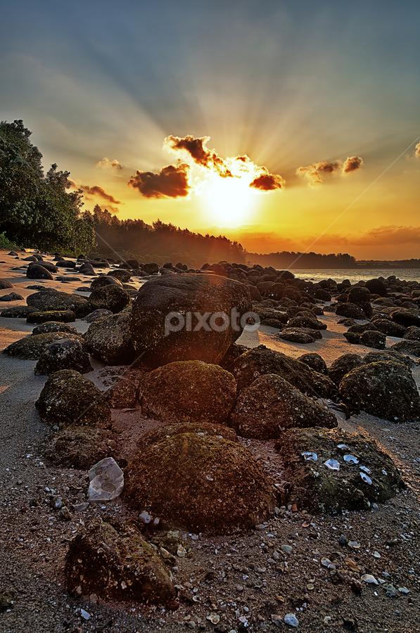 Sunrays by Partha Roy - Landscapes Beaches ( sea beach, rocky beach, sunset, sunrays, rock, seascape, pwcsunbeams )