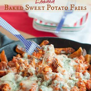 Buffalo Chicken Loaded Baked Sweet Potato Fries.