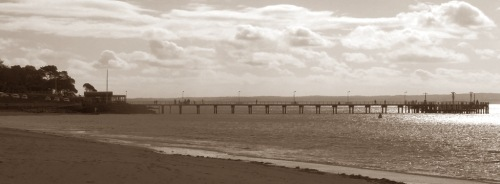Cowes Pier in sepia October 2007