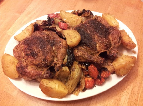 Plate the hens on a large enough platter and surround them with the roasted...