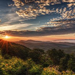 Blue Ridge Sunrise by Jeremy Yoho - Landscapes Sunsets & Sunrises ( clouds, overlook, mountains, sky, sunset, vista, horizon, view, sunrise,  )
