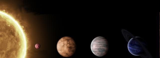 Sistema solar Cervantes: Sol Cervantes, Dulcinea, Rocinante, Quijote y Sancho