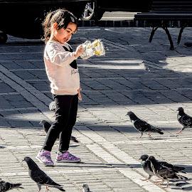 Here, Birdie! by Richard Michael Lingo - Babies & Children Children Candids ( street, candids, girl, birds, people )
