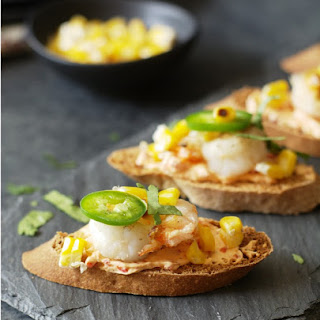 Spicy Shrimp and Roasted Pepper Cheese Crostini