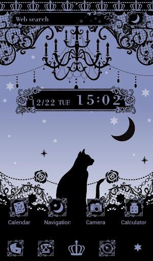 無料壁紙-星空と黒猫-かわいいきせかえ・アイコン