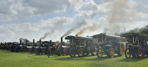 Photo: Traction engines all lined up. Unfortunately, taken into the sun.