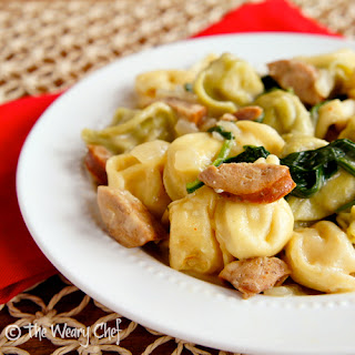 Tortellini with Sausage in a Light Sauce.