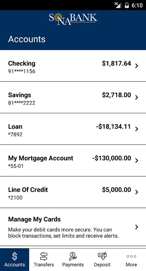 Sonabank Mobile Banking- screenshot