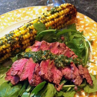 Fresh Niagara Corn and Steak with Chimichurri Sauce