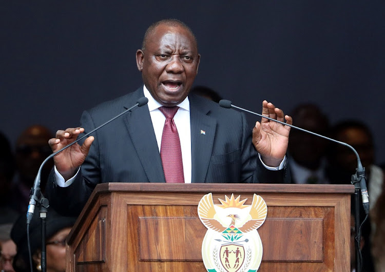President Cyril Ramaphosa delivers the eulogy at the funeral of Winnie Madikizela-Mandela at the Orlando stadium in Soweto on April 14 2018. Picture: REUTERS
