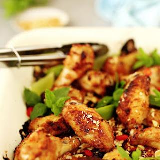 Chicken Wings with Hoisin Peanut Marinade.