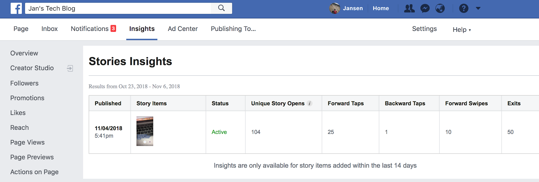Facebook Page Insights內有Stories Insights