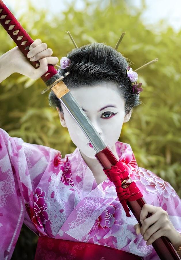 Geisha Warrior - Keiko by Ed Perez - People Portraits of Women ( japanese garden, keiko, nikon, ecperez, singapore )