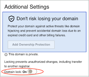 A red circle highlights the domain lock under the Additional Settings heading