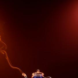 tea time by Andreea Muntean - Artistic Objects Still Life ( artistic objects, tea, blue, smokephotography, smoke, still life )