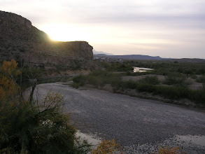 Photo: Robert, Pete and I begin the next day from the Barker House, across from the Mexican village of Boquillas, on the Rio Grande.