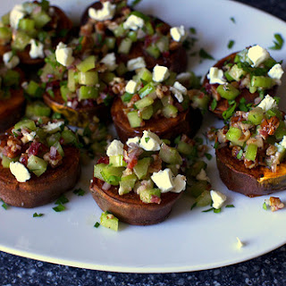 Sweet Potatoes With Pecans And Goat Cheese.