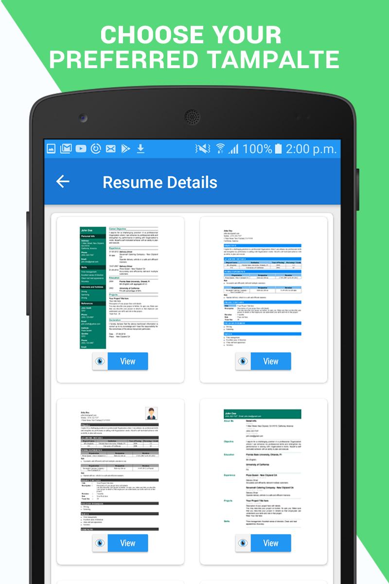 Professional Resume Maker Cv Builder Pdf Format Apk Cracked Free