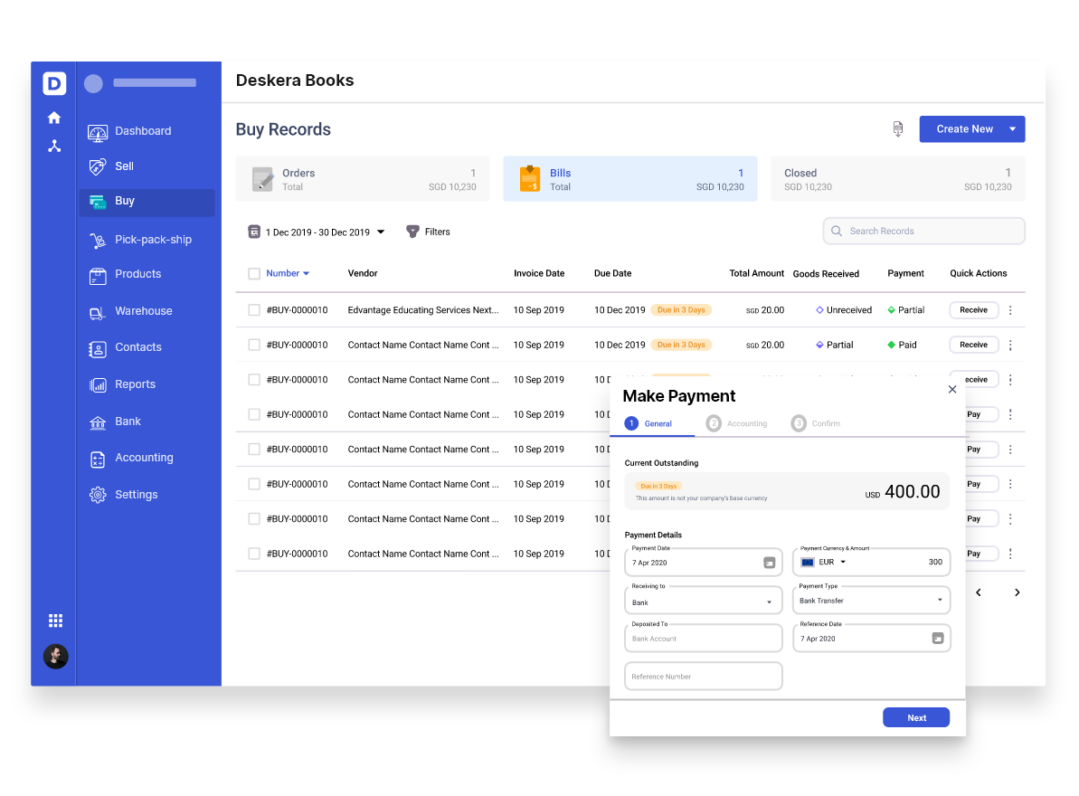 Make Bill Payments with Deskera
