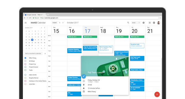 New Google Calendar UI screenshot