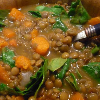 Lentil, Sweet Potato and Spinach Soup.