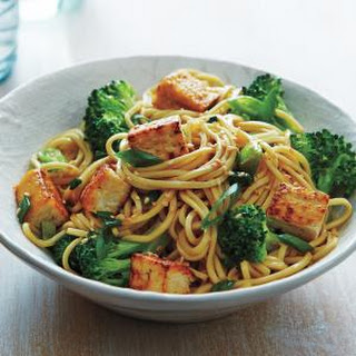 Stir-Fried Tofu and Broccoli Lo Mein.