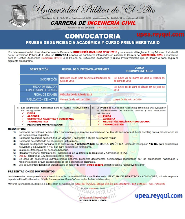 Estudiar ingeniería civil en las UPEA