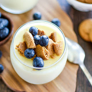 Lemon Pots de Creme with Blueberries and Cookie Crumble.