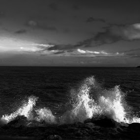 by Atina  Malnar  - Black & White Landscapes ( atlantic, waves )