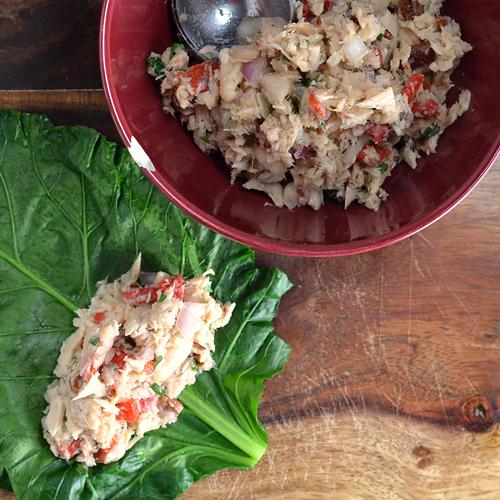 Mediterranean Tuna & White Bean Salad Collard Wraps Recipe