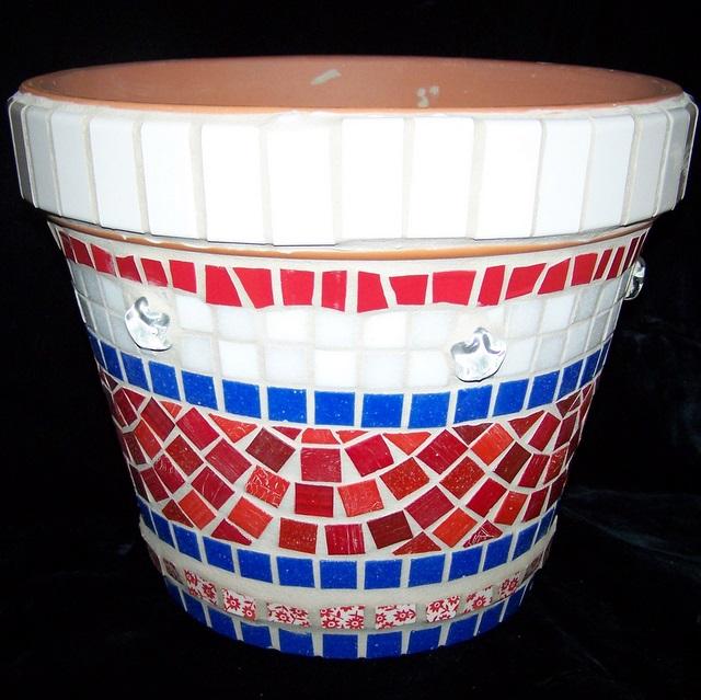 Americana Mosaic Flower Pot