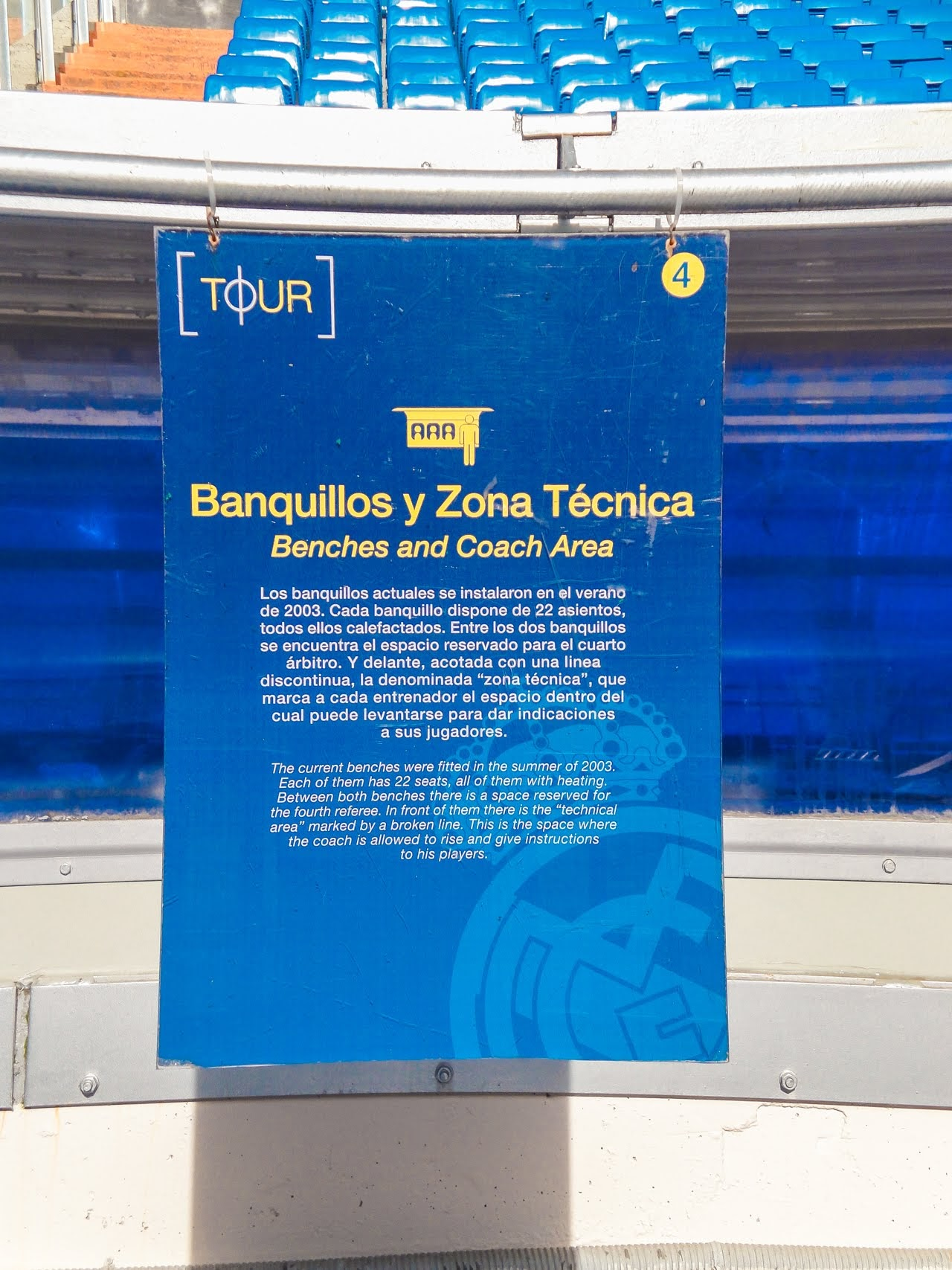 A sign explaining how all 22 seats were fitted in 2003