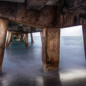 The Pier by Nemanja Stanisic - Buildings & Architecture Bridges & Suspended Structures ( smooth, reflected, ocean, beach, atlantic, spring, usa, life, florida, pier, evening, water, peaceful, waves, green, quiet, morning, poles, dusk, suspended, foggy, dawn, fog, fall, summer, bridge )