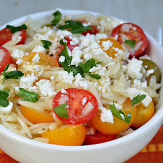 Orzo With Tomatoes Feta and Greek Dressing