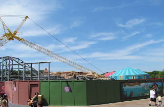 Photo: Another look at some of the new iron work going up around the Mine Train coaster track