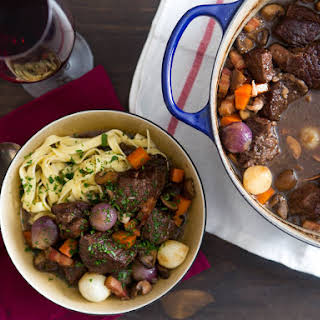 Boeuf Bourguignon (Beef Stew With Red Wine, Mushrooms, and Bacon).