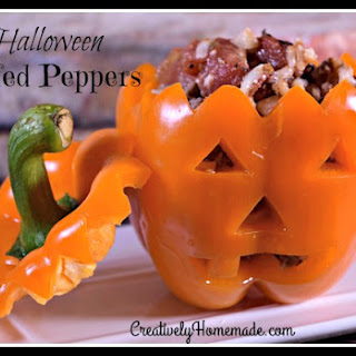 Jack-o-lantern Stuffed Peppers for Halloween