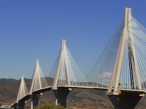 Photo: A new bridge parallels the Corinth Canal.