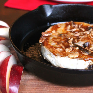 Baked Brie with Pumpkin Butter and Walnuts.