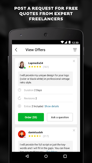Screenshot 4 for Fiverr's Android app'