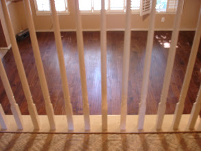 "Photo: leaving room area view lumber liquidators 5"" hand scraped hardwood installed. by www.floorswedo.com"