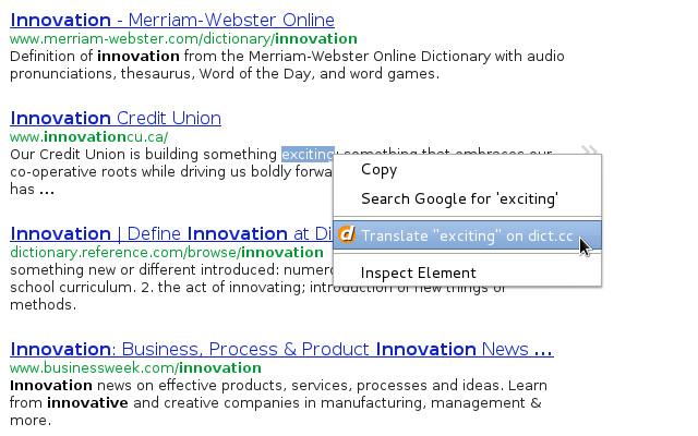 dict.cc context menu