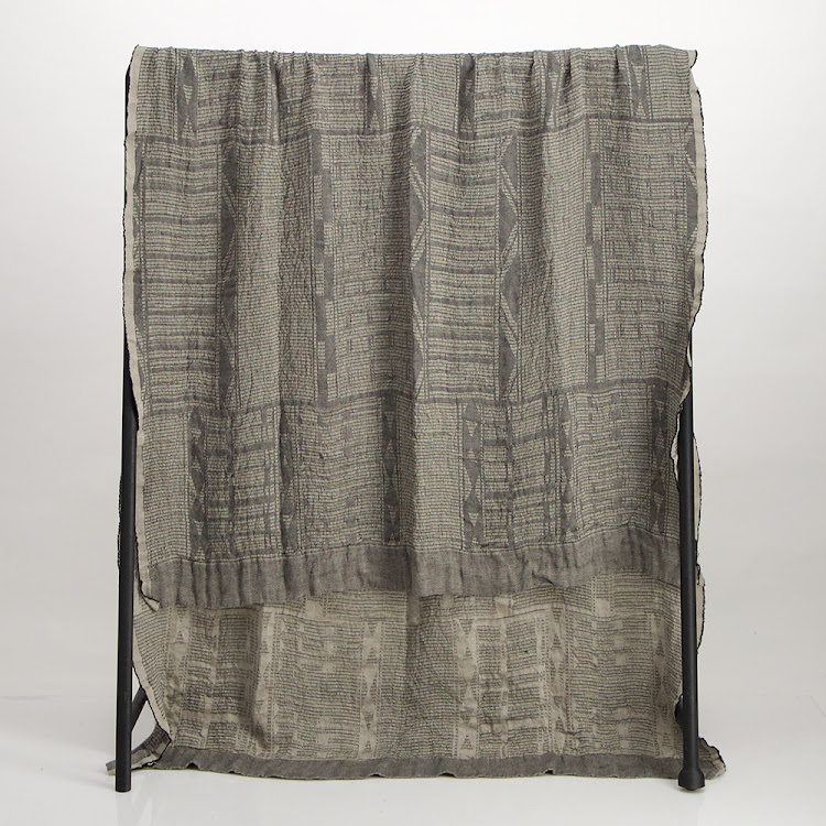 Bogolan throw, charcoal.
