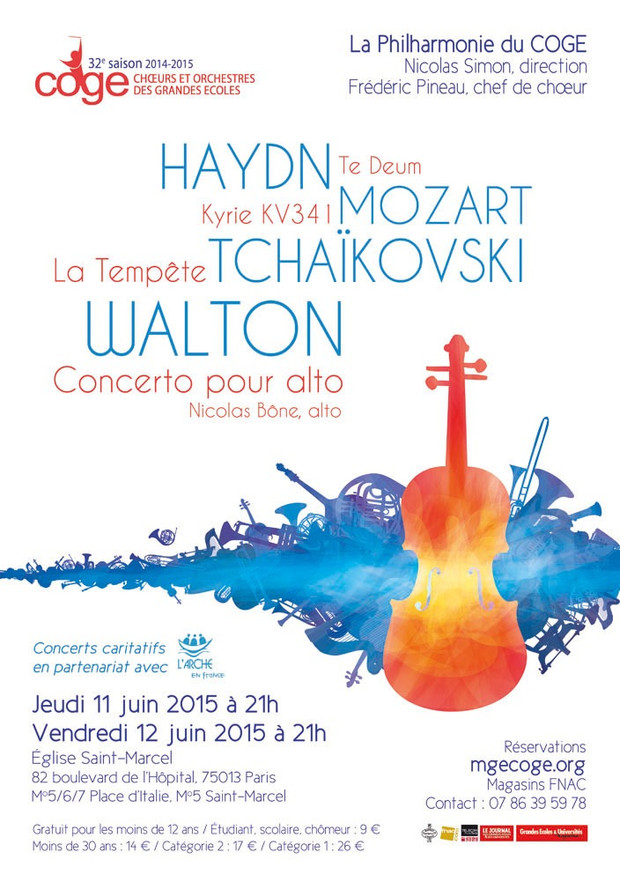 Affiche concert COGE au profit de L'Arche les 11 et 12 juin 2015