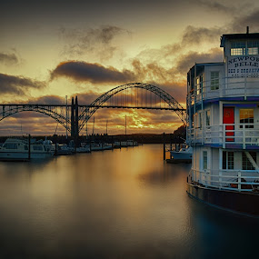 Newport Belle by Zach Blackwood - Transportation Boats ( oregon, march, 2013, sunset, boats, yaquina bay, newport, marina, bridge, coast )