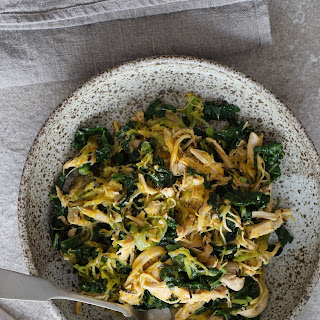 Instant Pot Shredded Chicken With Tarragon And Kale.